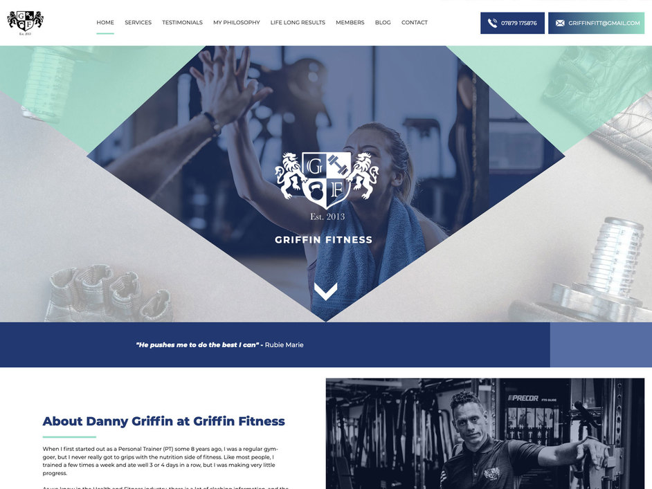 The Griffin Fitness website created by it'seeze